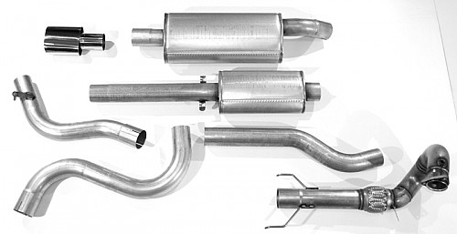 "JT 3"" Full exhaust, Saab 9-3 I Aero/Viggen without cat with 2 silencers Item number: 11-JT62-KV2"