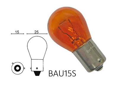 Bulb 21w, orange, BAU15S Item number: 02-12496