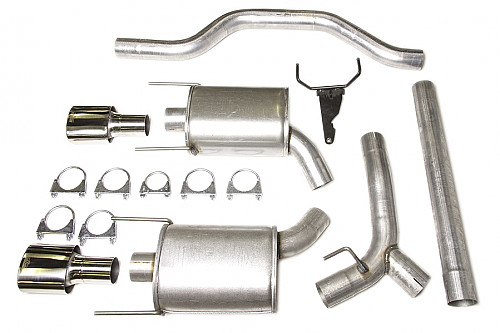 "JT 3"" Cat-back twinpipe system Saab 9-3 II -58L three silencers Item number: 11-JT93-HTW58"