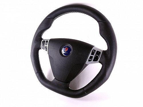 Maptun leather Steering wheel Saab 9-3 06-12 Flat bottom, White Stitch Item number: 01-50305FBWS