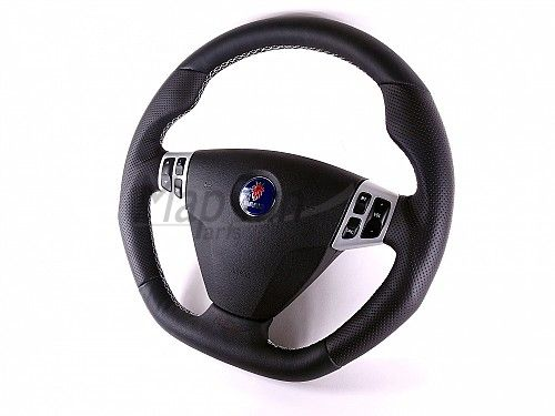 Maptun leather Steering wheel Saab 9-3 03-05 Flat bottom, White Stitch Item number: 01-50304FL-W