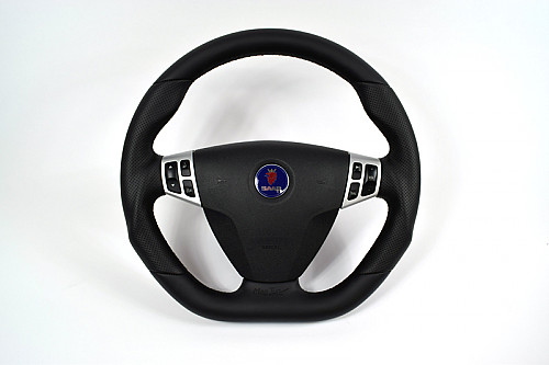 Maptun leather Steering wheel Saab 9-5 06-10 Flat bottom black stiches Item number: 01-50303FBBS