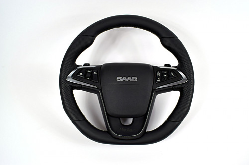 Maptun leather steering wheel, Saab 9-5 10-12 Flatt bottom, white stitching Item number: 01-50306FBWS