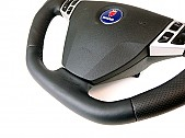 Maptun leather Steering wheel Saab 9-3 03-05 Flat bottom, Black Stitch