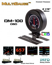 PLX DM-100 52 mm-es vezetékes kijelző OBDII adatforráshoz