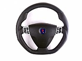 Maptun leather Steering wheel Saab 9-3 03-05 Flat bottom, White Stitch