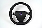 Maptun leather Steering wheel Saab 9-5 06-10 Flat bottom black stiches