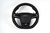 Maptun leather steering wheel, Saab 9-5 10-12 Flatt bottom, white stitching